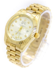 Rolex Men Watch – Men Stainless Steel Diamond Oyster Golden Watch With Silver Dial