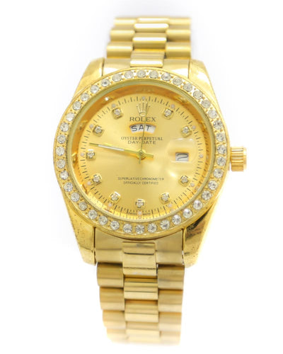 Rolex Men Watch – Men Stainless Steel Diamond Oyster Golden Watch With Golden Dial