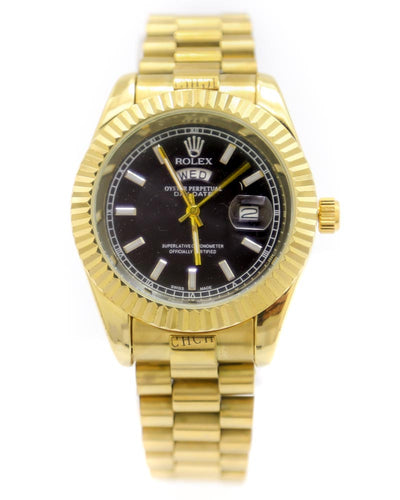 Rolex Men Watch – Men Stainless Steel Golden Watch With Black Dial
