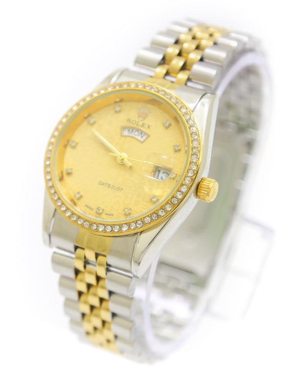 Mens Watches Online Shopping in Pakistan. For Rs. Rs.1399.00, ID - DK301202, Brand = Rolex, Rolex Men Watch – Men Date Just Swiss Golden & Silver Watch in Karachi, Lahore, Islamabad, Pakistan, Online Shopping in Pakistan, 2nd Copy, Accessories, Brand_Rolex, Chain Belt, Collection_Replica, Condition_2nd Copy, Content_Family, Gender_Men, Men, Round Dial Watches, Style_Chain Belt Watches, Style_Round Dial Watches, Type_Accessories, Type_Men, Type_Watches, Watches, diKHAWA Fashion - 2020 Online Shopping in Pakistan