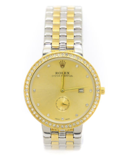 Rolex Men Watch – Mens Oyster Perpetual Silver & Golden Chain Watch