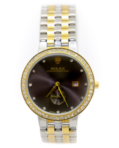 Rolex Men Watch – Men Oyster Perpetual Silver & Golden Chain Watch With Black Dial