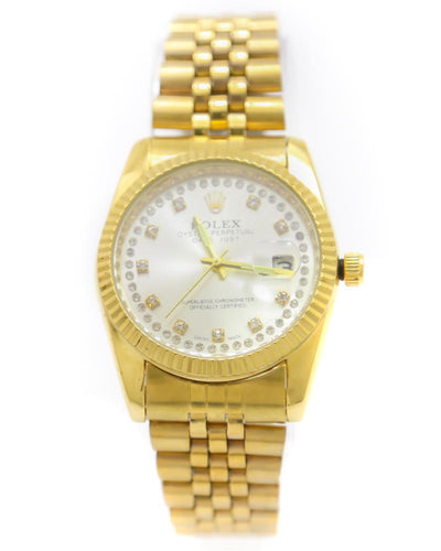Rolex Men Watch – Men Oyster Perpetual Date Just Golden Chain Watch With Silver Dial