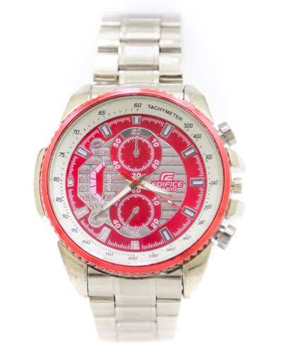 Casio Men Watch – Casio Watch Silver Chain With Red & White Dial