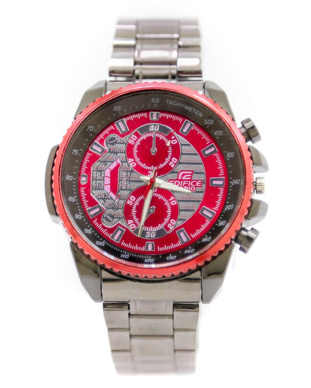 Casio Men Watch – Casio Watch Silver Chain With Red & Black Dial