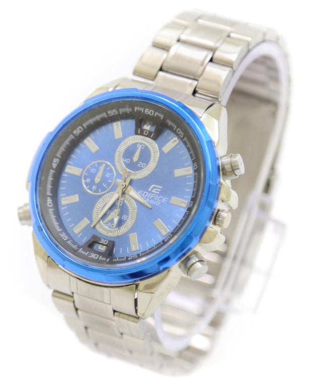 Casio Men Watch – Casio Watch Silver Chain With Blue Dial