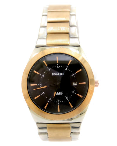 Rado Men Watch – Rado Watch Silver & Golden Chain With Black Dial