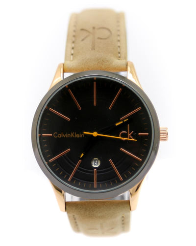 Ck - Calvin Klein Men Watch – Ck Watch Camel Color Belt With Black Dial