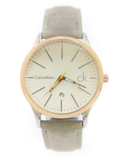 Ck - Calvin Klein Men Watch – Ck Watch Grey Belt With Golden Dial