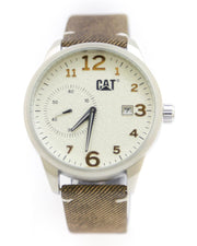 CAT Men Watch – CAT Watch Brown Belt With White Dial
