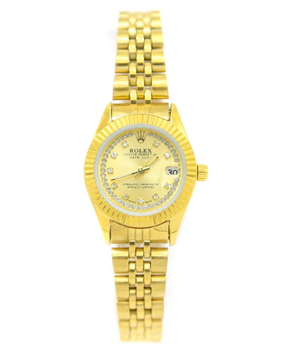 Rolex Ladies Watch – Golden Chain With Golden Dial