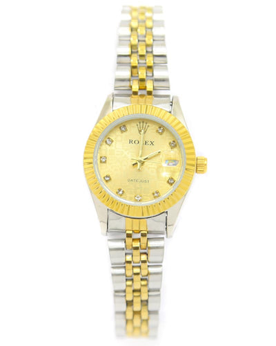 Rolex Ladies Watch – Gold & Silver Chain With Golden Dial