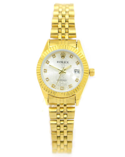 Rolex Ladies Watch – Ladies Stainless Steel Diamond Oyster Golden Chain With Golden Dial