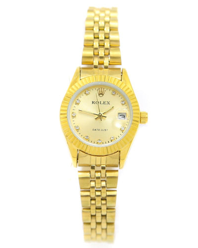 Rolex Ladies Watch – Gold Chain With Gold Dial