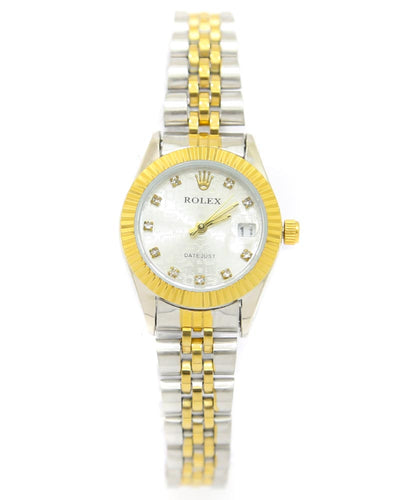 Rolex Ladies Watch – Golden & Silver Chain With Silver Dial