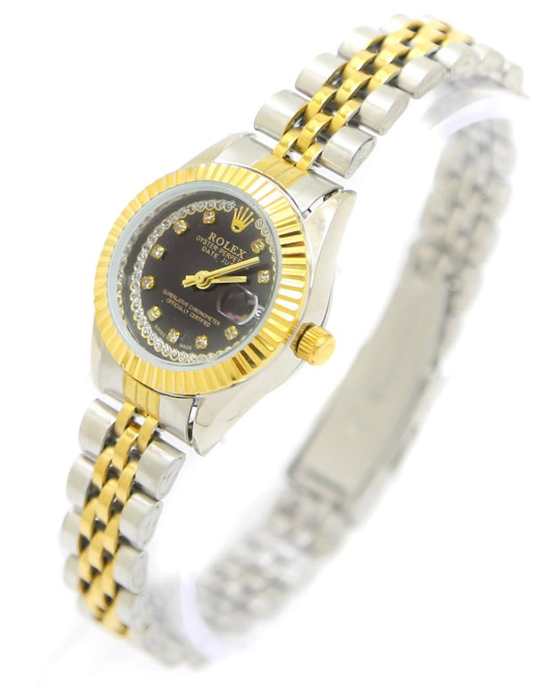 Ladies Watches Online Shopping in Pakistan. For Rs. Rs.1199.00, ID - DK300914, Brand = Rolex, Rolex Ladies Watch – Two Tone Ladies Stainless Steel Diamond Oyster Golden & Silver Chain With Black Dial in Karachi, Lahore, Islamabad, Pakistan, Online Shopping in Pakistan, Accessories, cf-type-ladies-watches, cf-vendor-rolex, Chain Belt, Round Dial Watches, Watches, Women, diKHAWA Fashion - 2020 Online Shopping in Pakistan