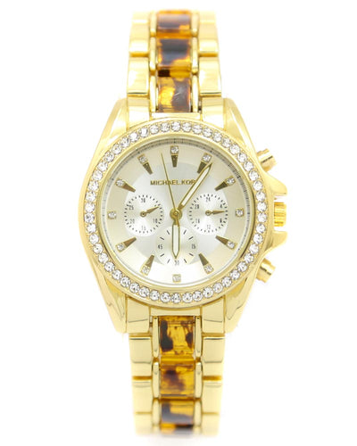 Michael Kors Ladies Bridal Watch – Golden Chain With Silver Dial MK-101
