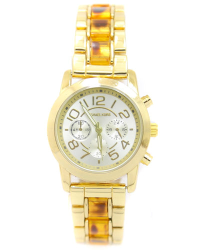 Michael Kors Ladies Bridal Watch – Golden Chain With Silver Dial MK-102