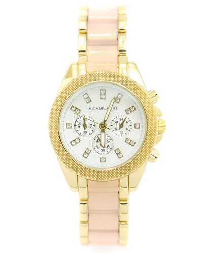 Michael Kors Ladies Bridal Watch – Golden & Pink Chain With Silver Dial MK-105