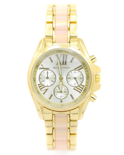 Michael Kors Ladies Bridal Watch – Golden & Pink Chain With Silver Dial MK-106