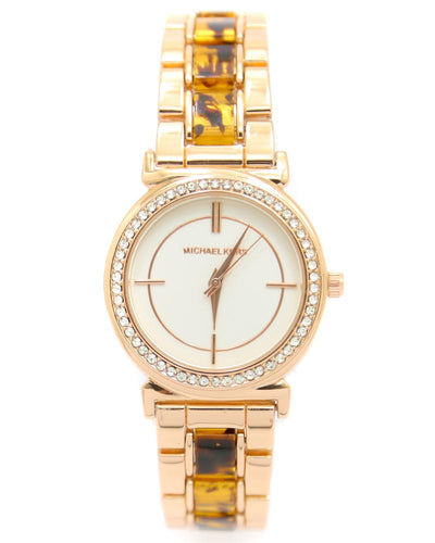 Michael Kors Ladies Bridal Watch – Rose Gold Chain With Silver Dial MK-107