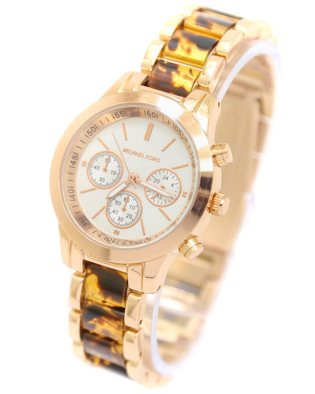 Michael Kors Ladies Bridal Watch – Rose Gold Chain With Silver Dial MK-109