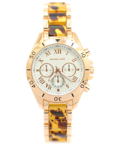 Michael Kors Ladies Bridal Watch – Rose Gold Chain With Silver Dial MK-110