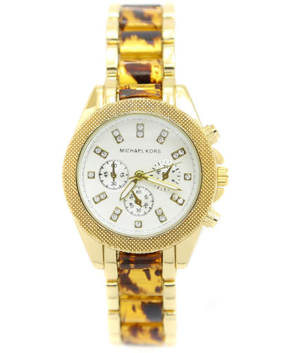 Michael Kors Ladies Bridal Watch – Golden Chain With Silver Dial MK-111