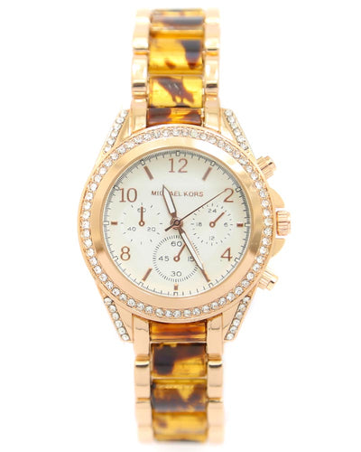Michael Kors Ladies Bridal Watch – Rose Gold Chain With Silver Dial MK-112