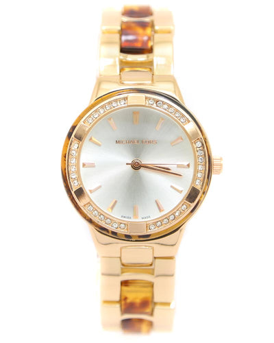 Michael Kors Ladies Bridal Watch – Rose Gold Chain With Silver Dial MK-114