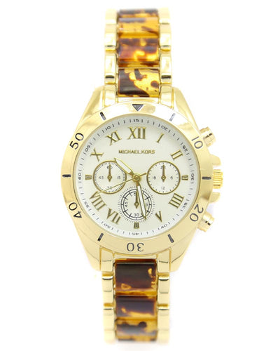 Michael Kors Ladies Bridal Watch – Golden Chain With Silver Dial MK-115