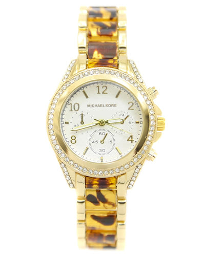 Michael Kors Ladies Bridal Watch – Golden Chain With Silver Dial MK-117