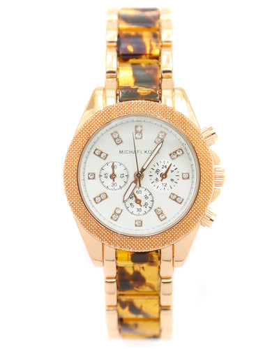 Michael Kors Ladies Bridal Watch – Rose Gold Chain With Silver Dial MK-119