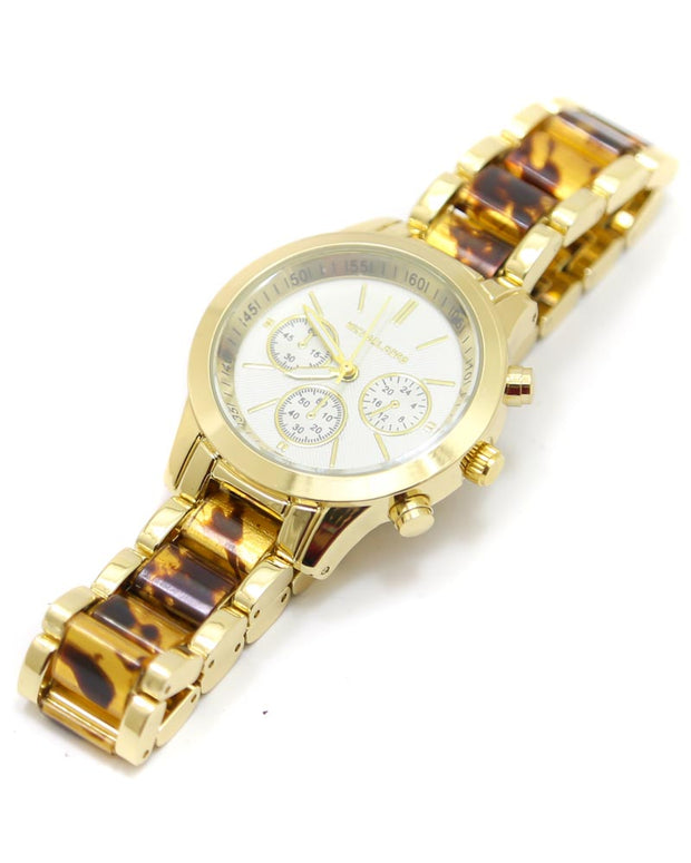 Michael Kors Ladies Bridal Watch – Golden Chain With Silver Dial MK-118