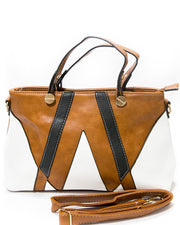 White & Light Brown Ladies Handbags FB-3025 - Stylish Shoulder Bags