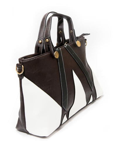 White & Dark Brown Ladies Handbags FB-3026 - Stylish Shoulder Bags