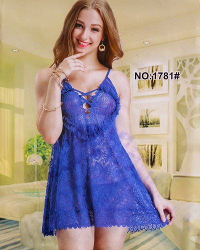Sexy Cotton Net Short Nighty For Women - 1781#