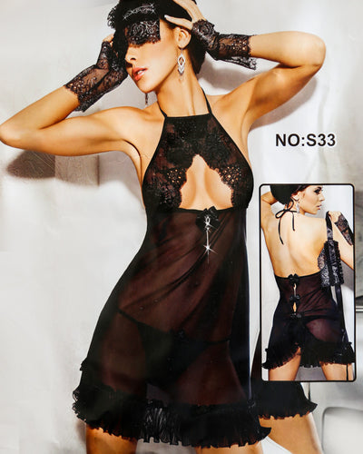 Romantic Sexy Net Short Nighty - Babydoll Bridal Sexy Nighty - S33