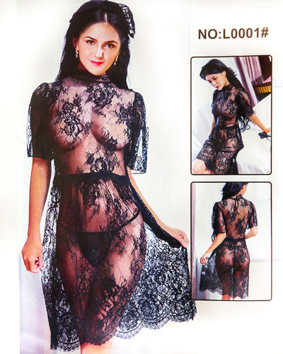 Bridal Sexy Transparent Short Lace Nighty - L0001