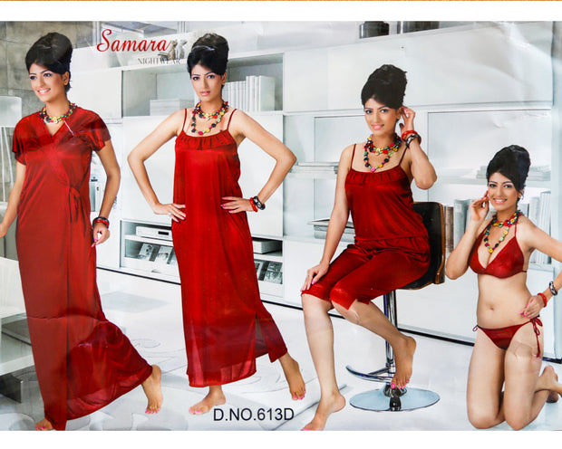 6 Pcs Bridal Nighty Set - Wedding Nighty Set - Samara 613D