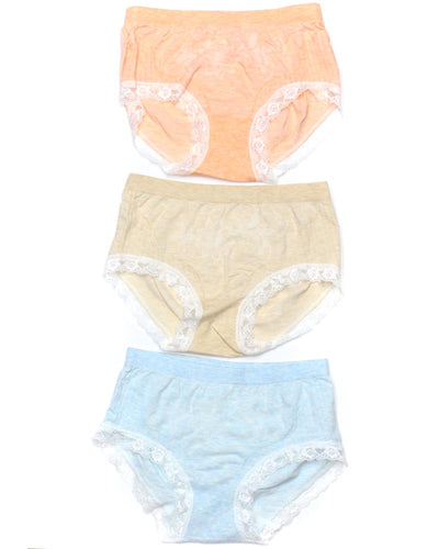 Pack of 3 Basic Soft Cotton Stretchable Lace Panty FP-657 - Mix Colors