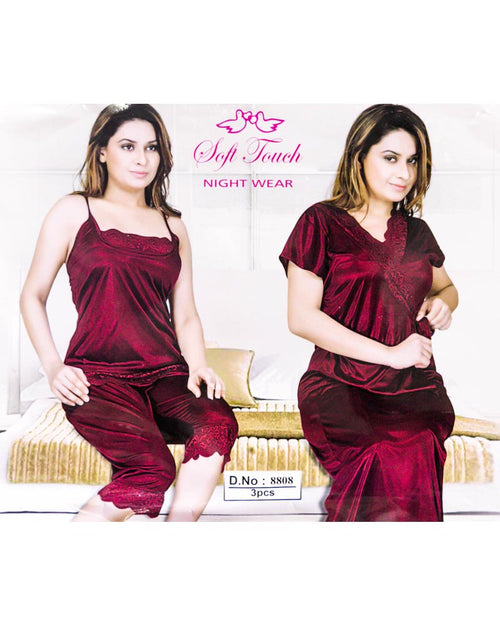 Buy Maroon Soft Touch Bridal Nighty Set - 3 Pcs Set 8808 Online in Karachi, Lahore, Islamabad, Pakistan, Rs.2100.00, Nighty Sets Online Shopping in Pakistan, Soft Touch, Bridal Nighty, Bridal Nighty Sets, cf-color-maroon, cf-size-free-size, cf-type-nighty-sets, cf-vendor-soft-touch, Clothing, Fancy Nighty, Fashion, Honeymoon Nighty, Honeymoon Nighty Sets, Net Nighty, Nightwear, Nighty, Nighty Set, Wedding Nighty, Wedding Nighty Sets, Women, diKHAWA Online Shopping in Pakistan