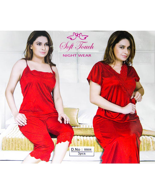 Red Soft Touch Bridal Nighty Set - 3 Pcs Set 8808