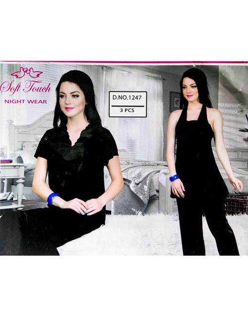 Black Soft Touch Bridal Nighty Set - 3 Pcs Set 1247