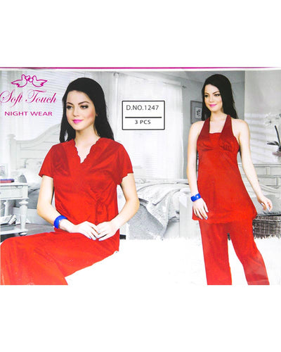 Red Soft Touch Bridal Nighty Set - 3 Pcs Set 1247
