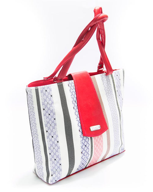 Red Ladies Handbags SS Fashion Strips Design - HB1014 - Shoulder Bags & Purse for Ladies