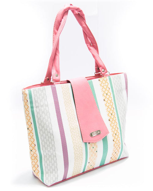 Pink Ladies Handbags SS Fashion Stripes Design - HB1017 - Shoulder Bags & Purse for Ladies