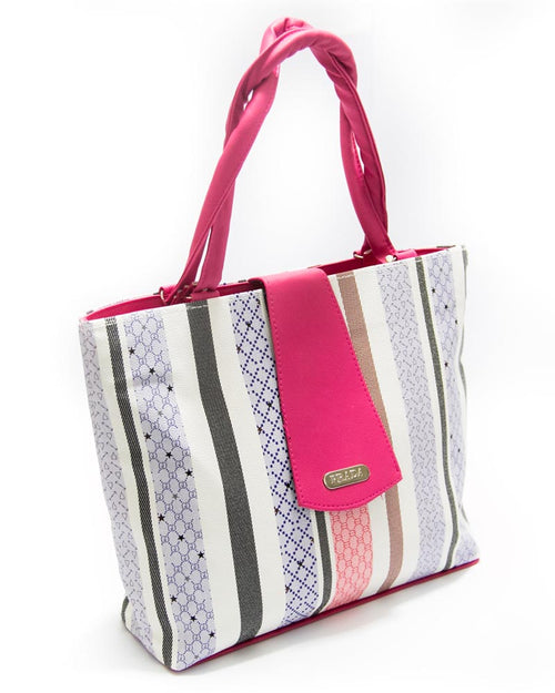 Hot Pink Ladies Handbags SS Fashion Stripes Design - HB1019 - Shoulder Bags & Purse for Ladies