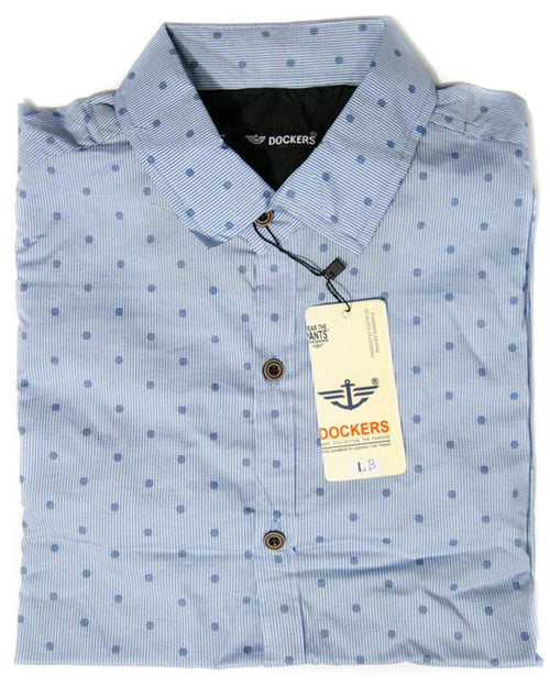 Blue Strips With Dotted Shirt for Men - Dockers Men's Dress Shirts