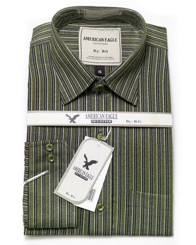 American Eagle Mens Formal Shirt - SA1004 - Mens Self Striped Cotton Shirts